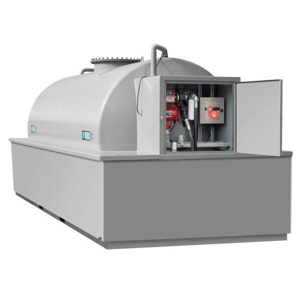 ABG nytillverkad dubbelmantlad cistern med miljölöda och låsbart pumpskåp
