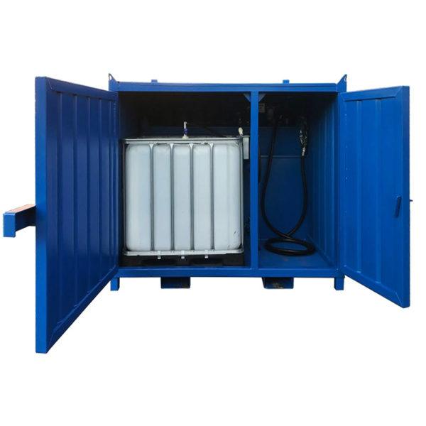 Kombi Containertank - IBC - transportgodkänd. Dubbla dörrar för tank och utrustning